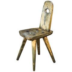 Folk Art Wooden Side Chair, Sweden, circa 1900