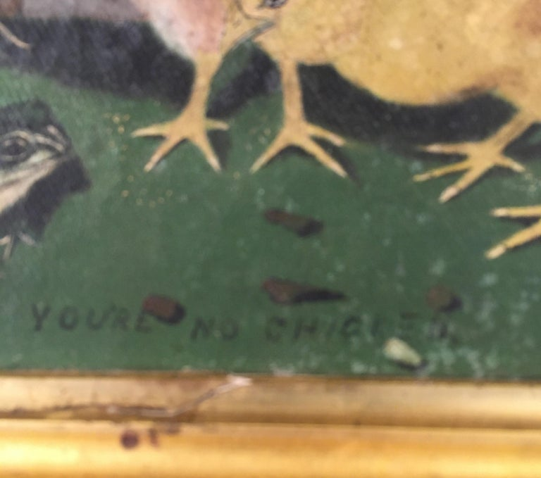 Charming early 20th century Folk Art painting on canvas of 2 chicks and a frog with the sentiment