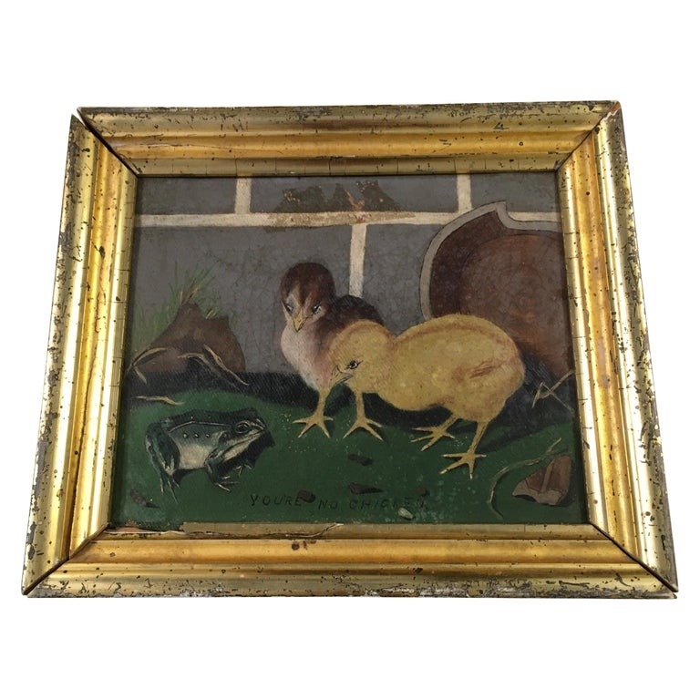 """Folk Art """"You're No Chicken"""" Painting For Sale"""