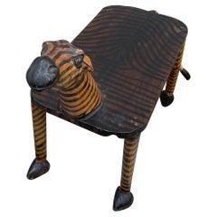Folk Art Zebra Bench