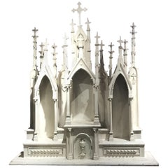 Folk Carved Church Wall Altar or Reliquary with Gothic Spires in Old White Paint