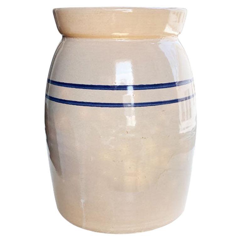 Folk Ceramic Butter Churn, Crock or Vase with Blue Stripe Decoration