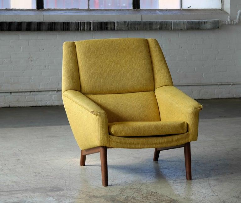 Mid-Century Modern Folke Ohlsson 1950s Teak Lounge Chair for Fritz Hansen Danish Midcentury