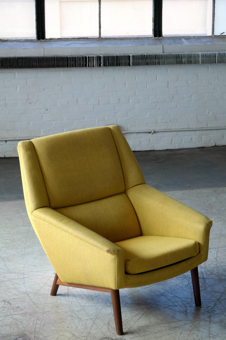 Folke Ohlsson 1950s Teak Lounge Chair for Fritz Hansen Danish Midcentury In Good Condition In Bridgeport, CT