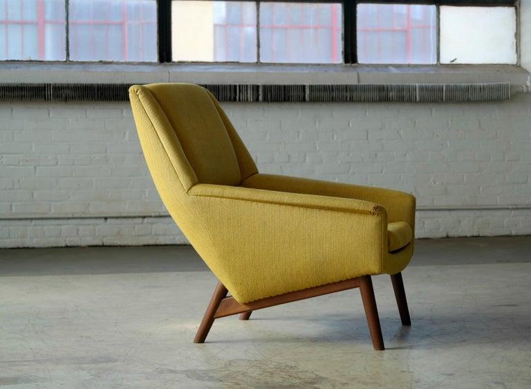 Mid-20th Century Folke Ohlsson 1950s Teak Lounge Chair for Fritz Hansen Danish Midcentury