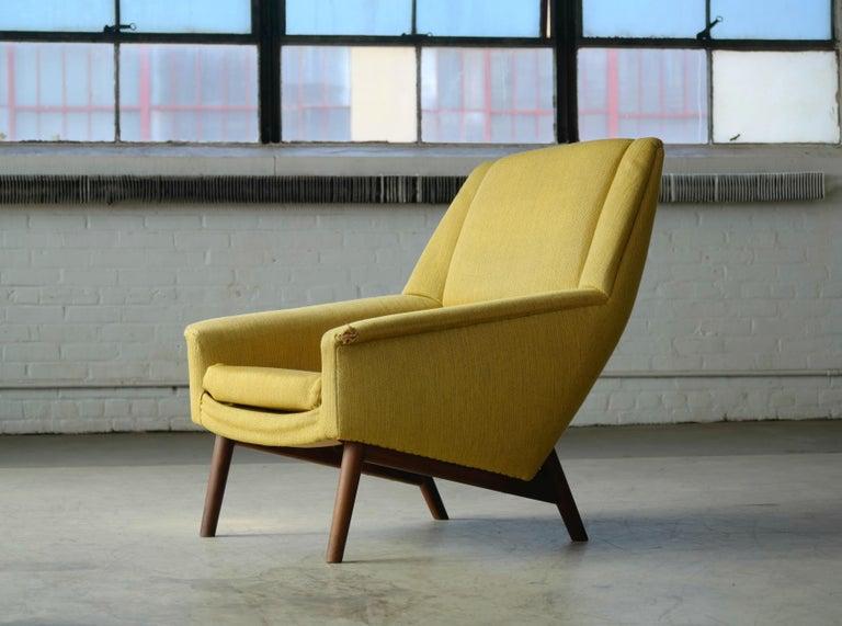 Wool Folke Ohlsson 1950s Teak Lounge Chair for Fritz Hansen Danish Midcentury