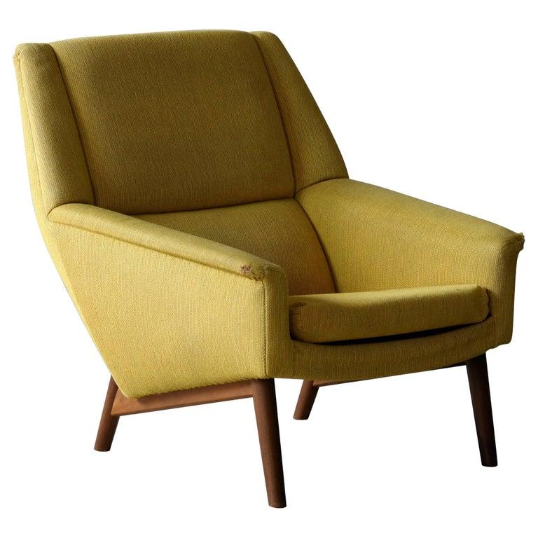 Folke Ohlsson 1950s Teak Lounge Chair for Fritz Hansen Danish Midcentury