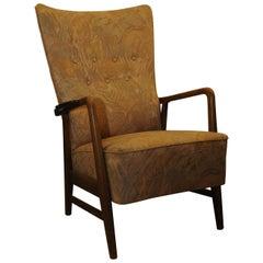 Folke Ohlsson DUX Scandinavian Mid-Century Modern Armchair Patterned Upholstery