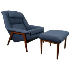 Folke Ohlsson, DUX, Lounge Chair and Ottoman, Sweden 1960
