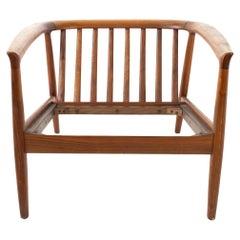Folke Ohlsson for DUX Mid Century Danish Teak Barrel Lounge Chair