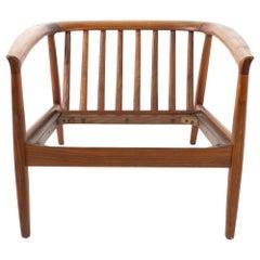 Folke Ohlsson for DUX Midcentury Danish Teak Barrel Lounge Chair