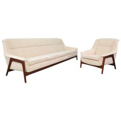 Folke Ohlsson for DUX Teak Sofa and Lounge Chair Set