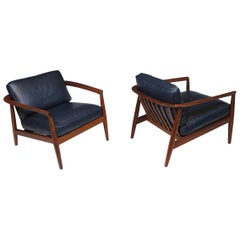 Folke Ohlsson for Dux Walnut and Leather Lounge Chairs