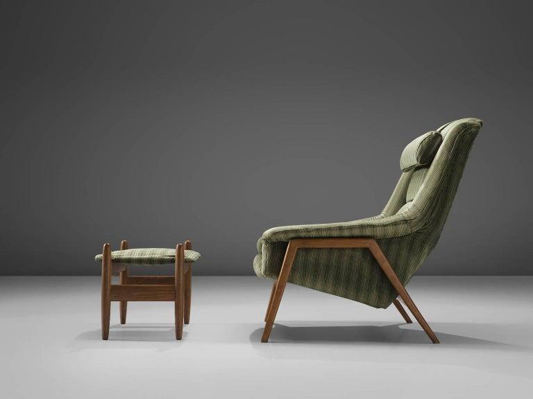 Scandinavian Modern Folke Ohlsson for Fritz Hansen Lounge Chair with Ottoman For Sale
