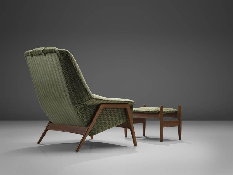 Danish Folke Ohlsson for Fritz Hansen Lounge Chair with Ottoman For Sale