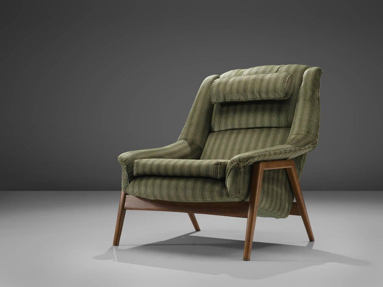 Folke Ohlsson for Fritz Hansen Lounge Chair with Ottoman In Good Condition For Sale In Waalwijk, NL