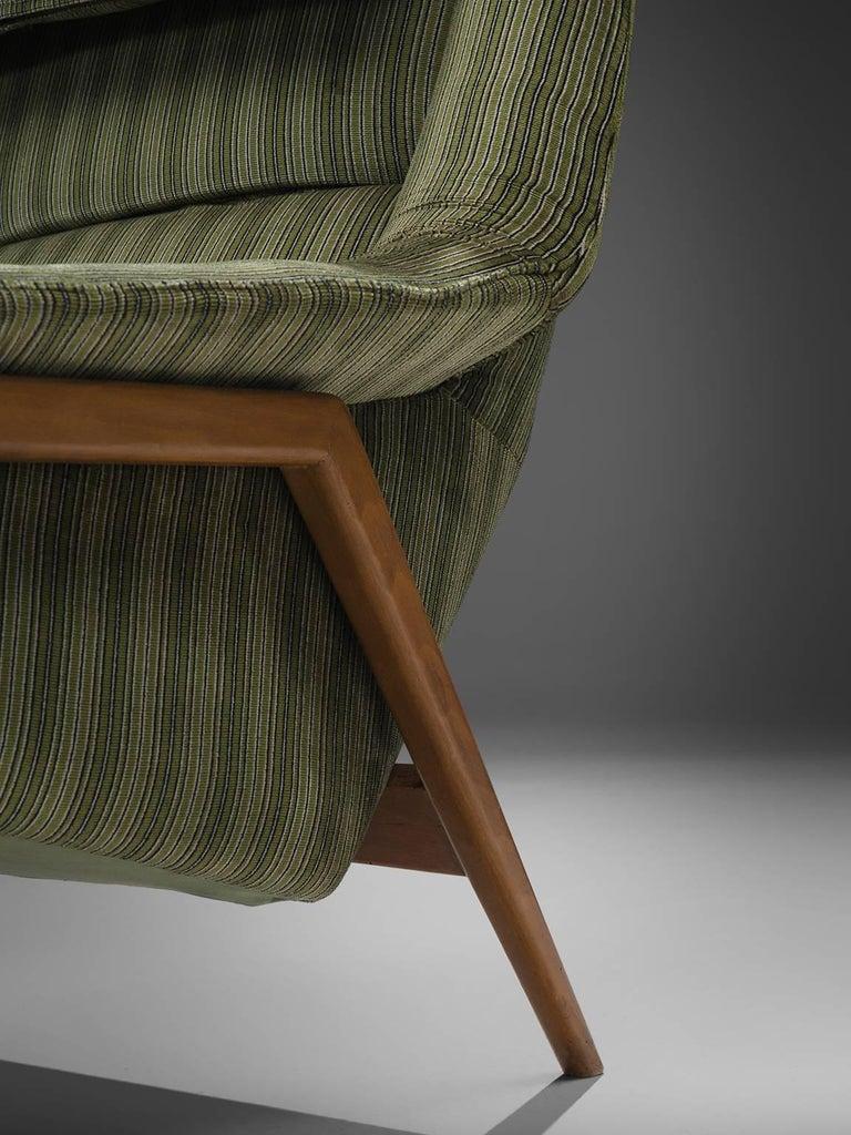 Velvet Folke Ohlsson for Fritz Hansen Lounge Chair with Ottoman For Sale