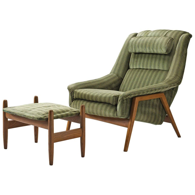 Folke Ohlsson for Fritz Hansen Lounge Chair with Ottoman For Sale