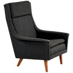 Folke Ohlsson & Fritz Hansen Original Fabric Scandinavian Modern Lounge Chair