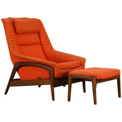 Folke Ohlsson Lounge Chair and Ottoman, 1960s