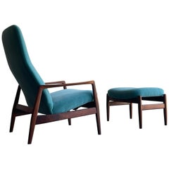 Folke Ohlsson Lounge Chair and Ottoman for DUX, Walnut and Mohair