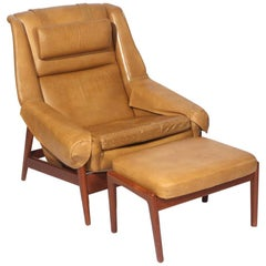 Folke Ohlsson Lounge Chair and Ottoman in Leather
