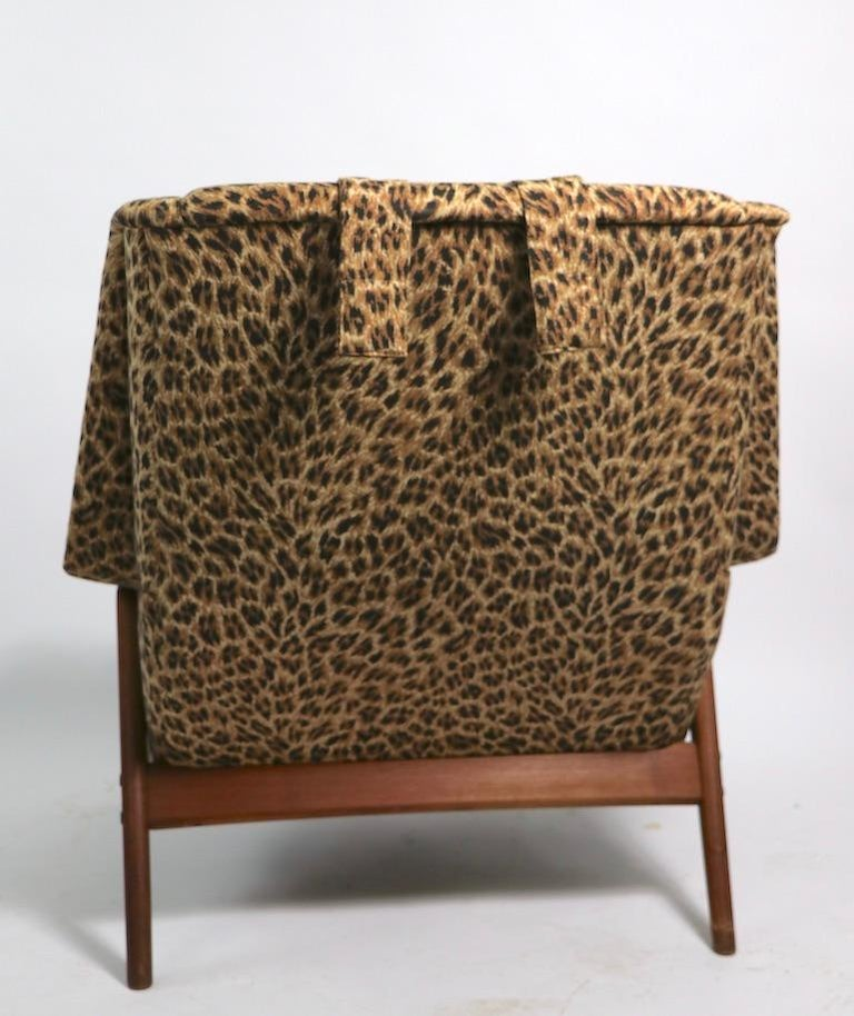 Folke Ohlsson Lounge Chair by DUX of Sweden in Cheetah Print Fabric For Sale 4