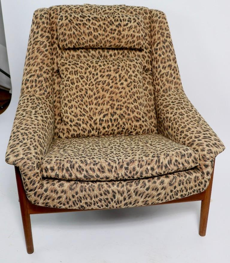 Swedish Folke Ohlsson Lounge Chair by DUX of Sweden in Cheetah Print Fabric For Sale