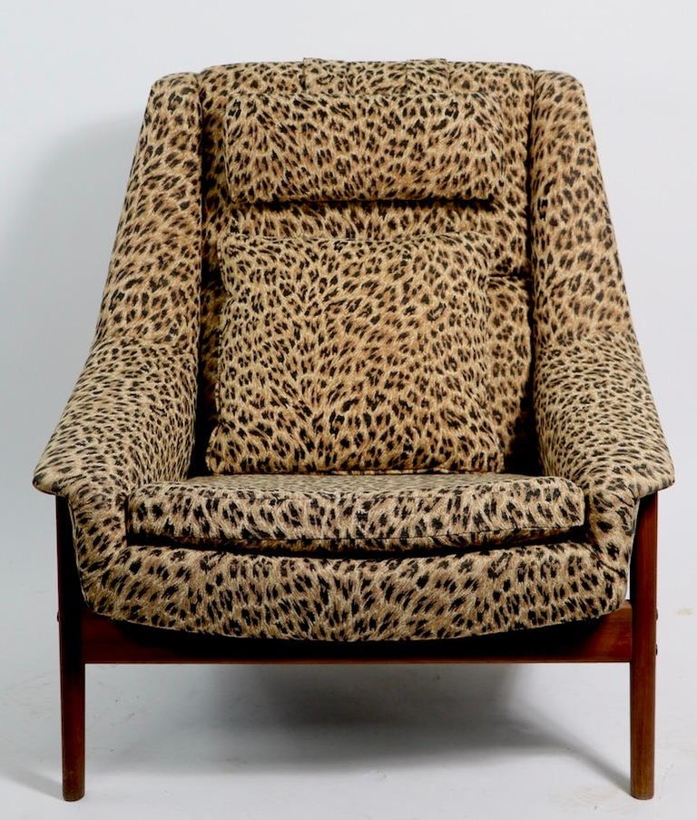 20th Century Folke Ohlsson Lounge Chair by DUX of Sweden in Cheetah Print Fabric For Sale