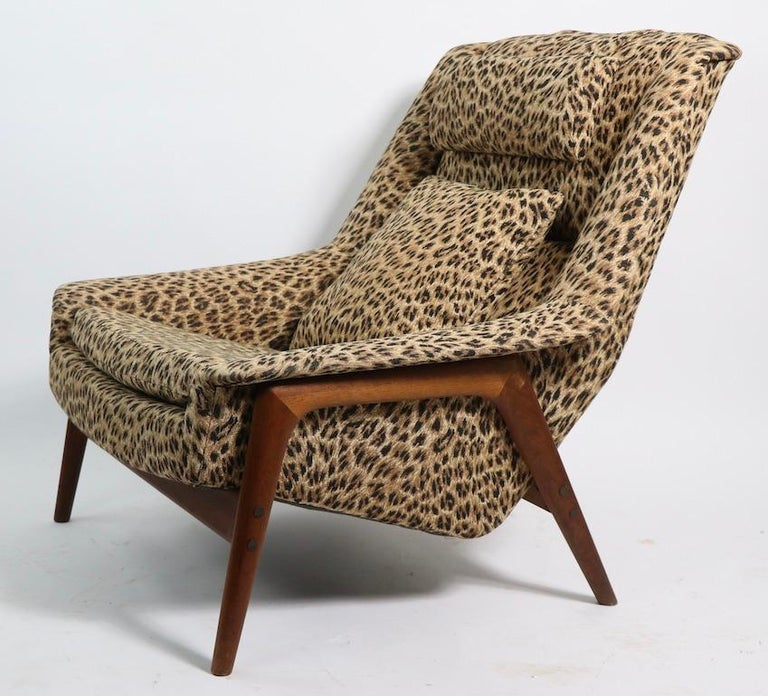 Upholstery Folke Ohlsson Lounge Chair by DUX of Sweden in Cheetah Print Fabric For Sale