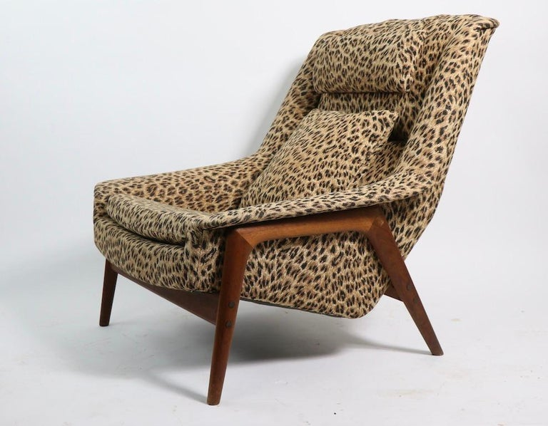 Folke Ohlsson Lounge Chair by DUX of Sweden in Cheetah Print Fabric For Sale 1