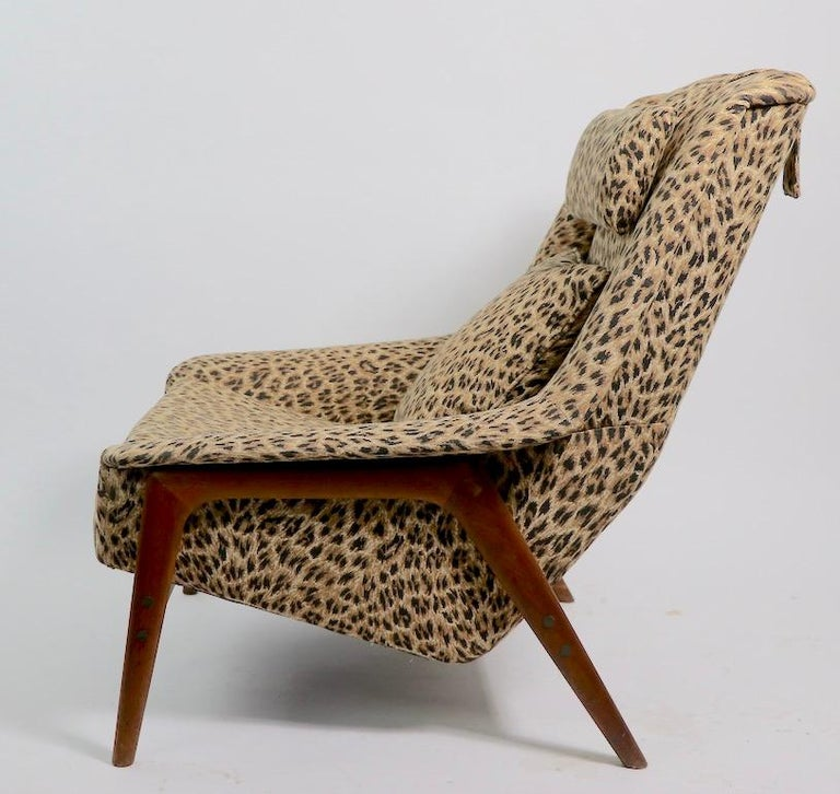 Folke Ohlsson Lounge Chair by DUX of Sweden in Cheetah Print Fabric For Sale 2