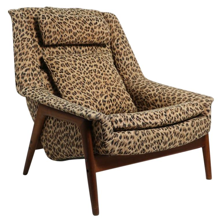Folke Ohlsson Lounge Chair by DUX of Sweden in Cheetah Print Fabric For Sale