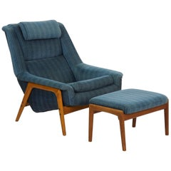 Folke Ohlsson Midcentury Vintage Lounge Chair with Ottoman