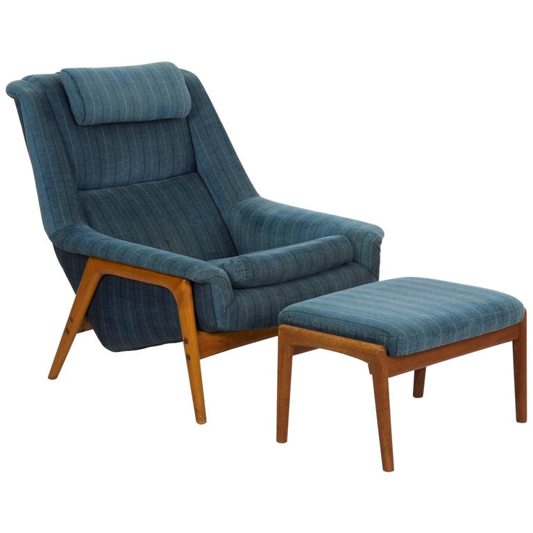 Folke Ohlsson Midcentury Vintage Lounge Chair with Ottoman For Sale