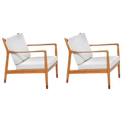 Folke Ohlsson Model USA-143 Oak Lounge Chairs for Dux
