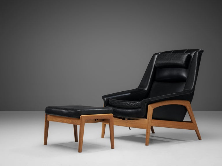 Folke Ohlsson Pair of 'Profil' Lounge Chairs in Black Leather 4
