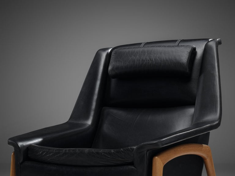Mid-Century Modern Folke Ohlsson Pair of 'Profil' Lounge Chairs in Black Leather