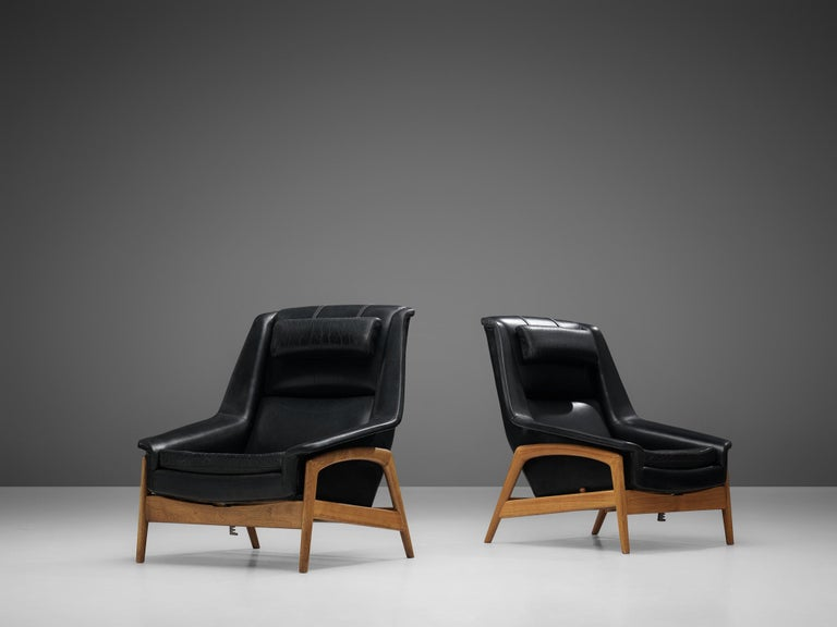 Swedish Folke Ohlsson Pair of 'Profil' Lounge Chairs in Black Leather