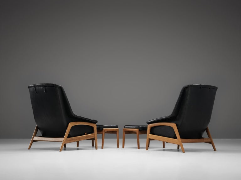 Mid-20th Century Folke Ohlsson Pair of 'Profil' Lounge Chairs in Black Leather