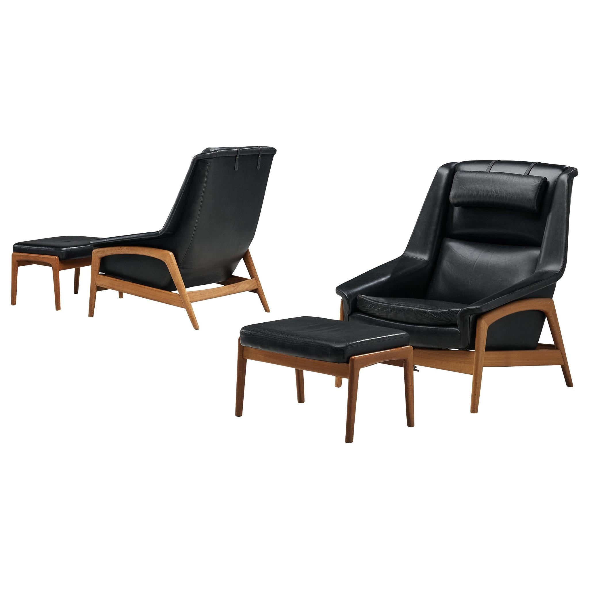 Folke Ohlsson Pair of 'Profil' Lounge Chairs in Black Leather