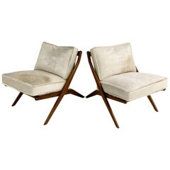 Folke Ohlsson Scissor Chairs with Brazilian Cowhide Cushions, Pair
