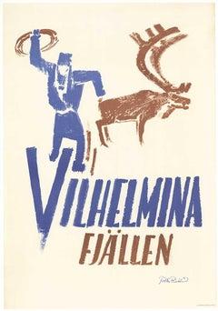 Vilhelmina Fjallen,   Vilhelminafjällen Sverige original vintage travel poster