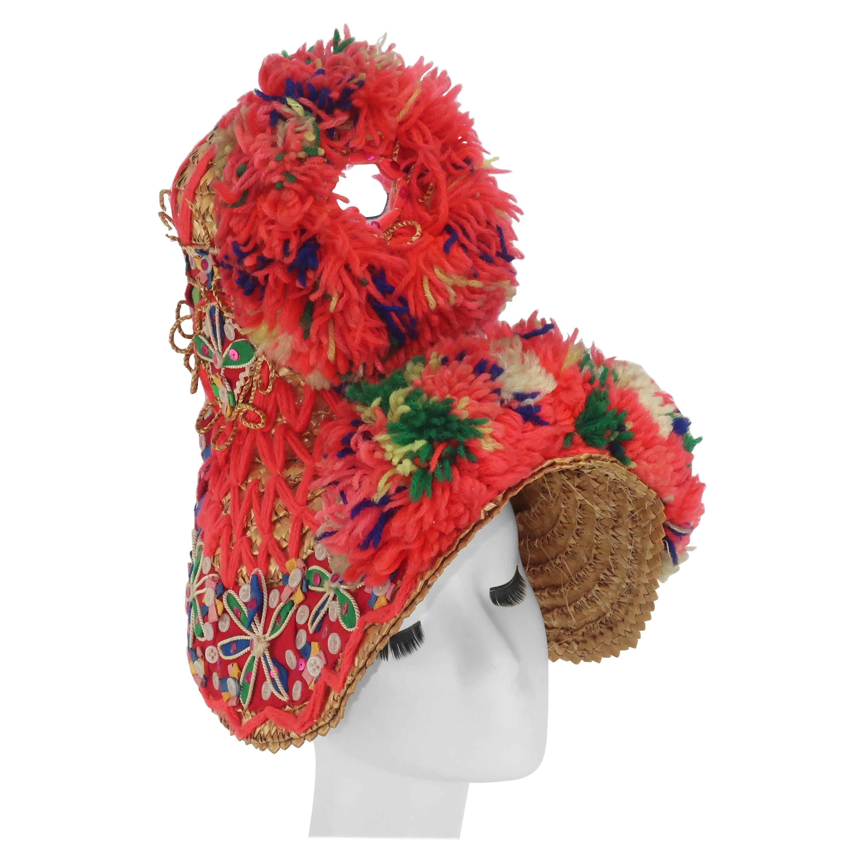 Folkloric Spanish Straw Bonnet Hat, 1950's