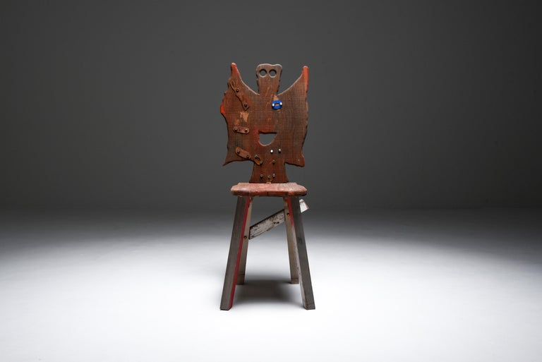 Serban Ionescu; folks series; functional art; sculpture chair; armchair; side chair; conversation piece; art; Folks 29, 2021  This unique piece was on view in the exhibition