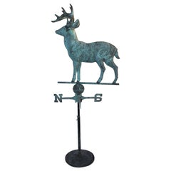 Folky 20th Century Stag / Deer Weather Vane on Iron Stand