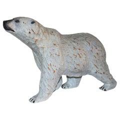 Folky 20thc Hand Carved Polar Bear