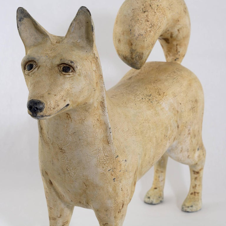 Folk Art dog carved and painted from pine