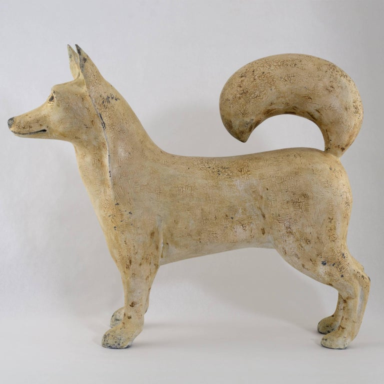 Folk Art Folky Carved and Painted Dog by Renowned Artist Frank Finney For Sale