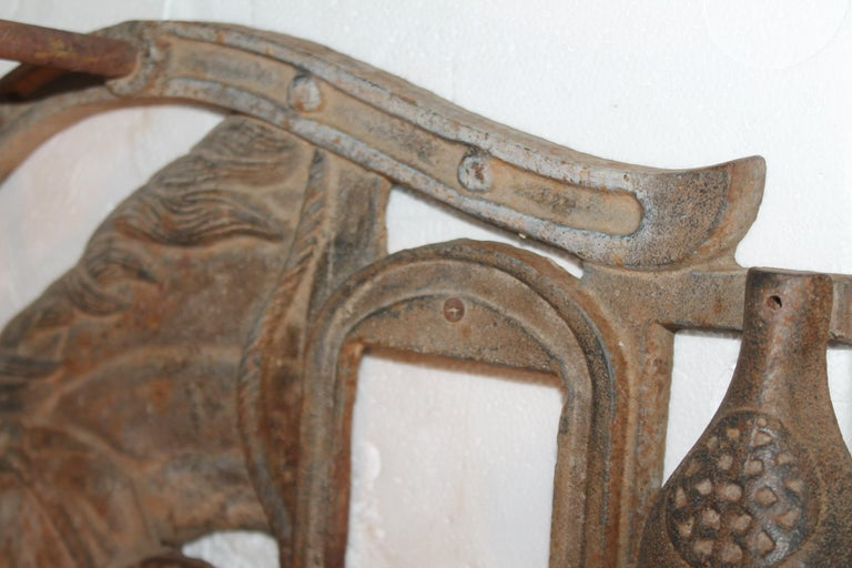 20th Century Folky Early 20thc Iron Boot Jack & Rack For Sale
